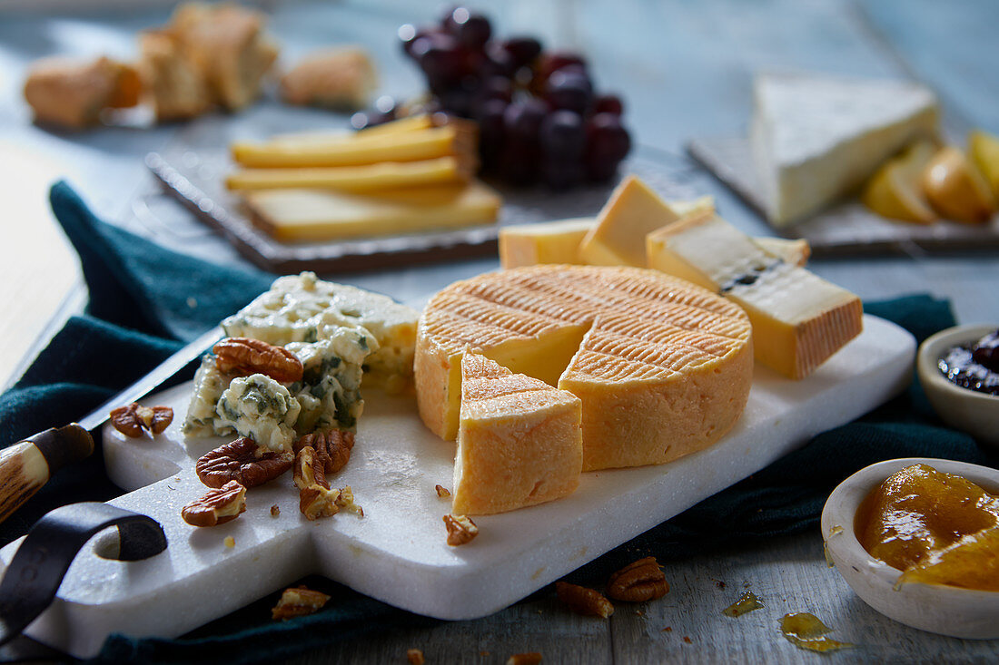 A French cheese platter with nuts