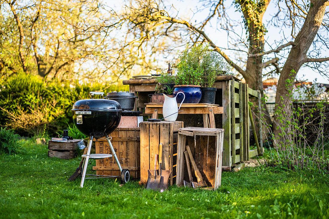 A barbecue in a garden