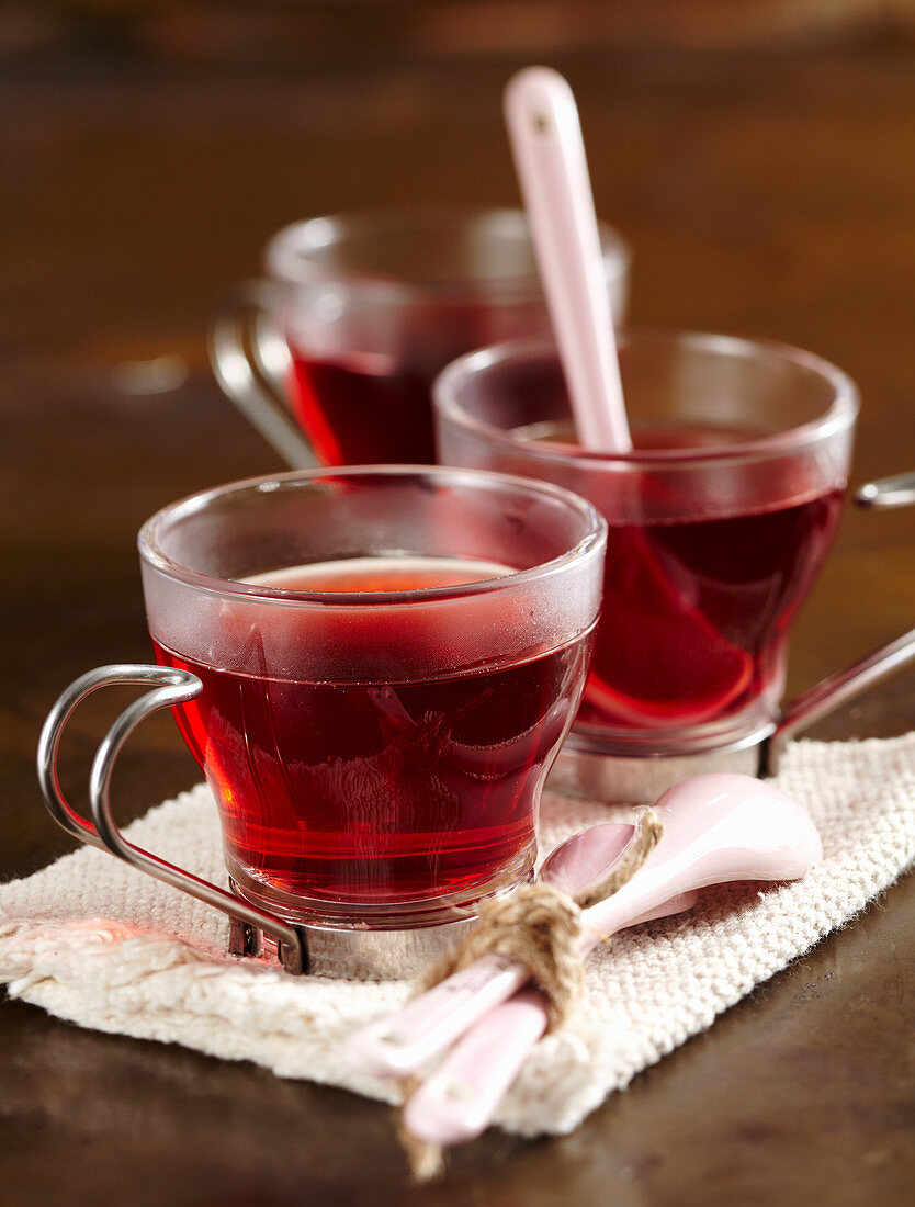 Rooibos tea with homemade red wine syrup