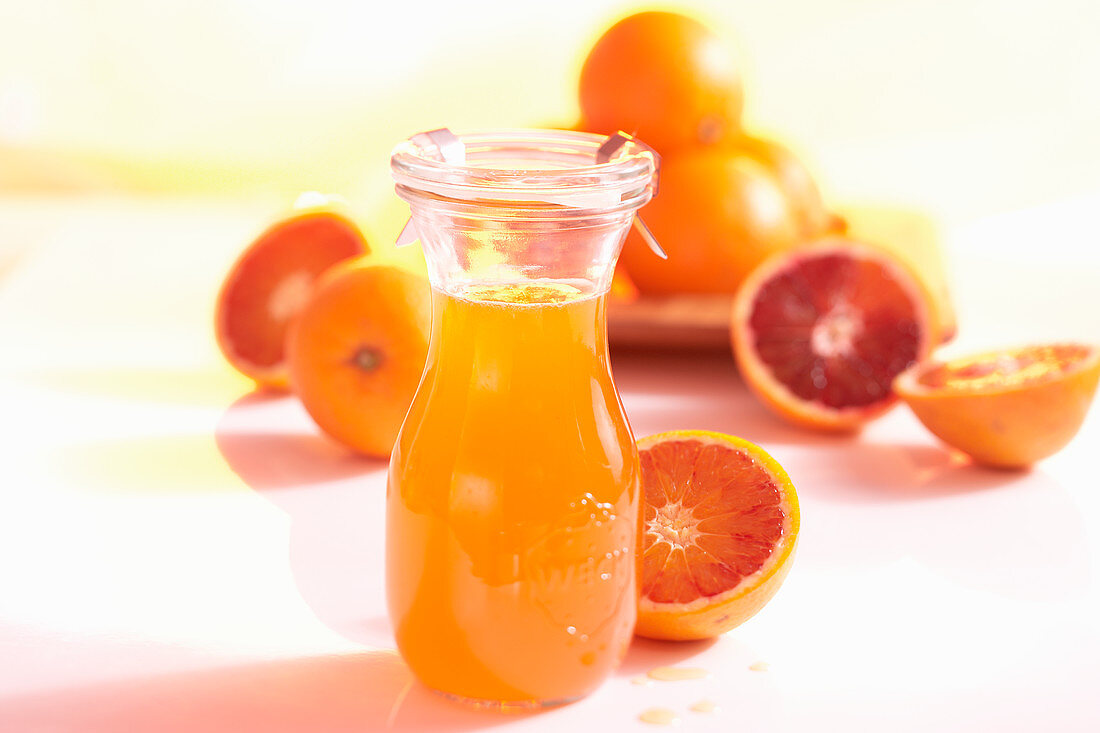 Homemade blood orange syrup