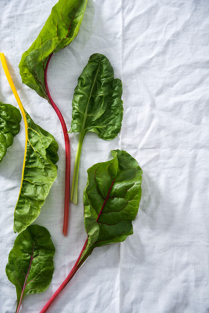 Various different coloured chard stems