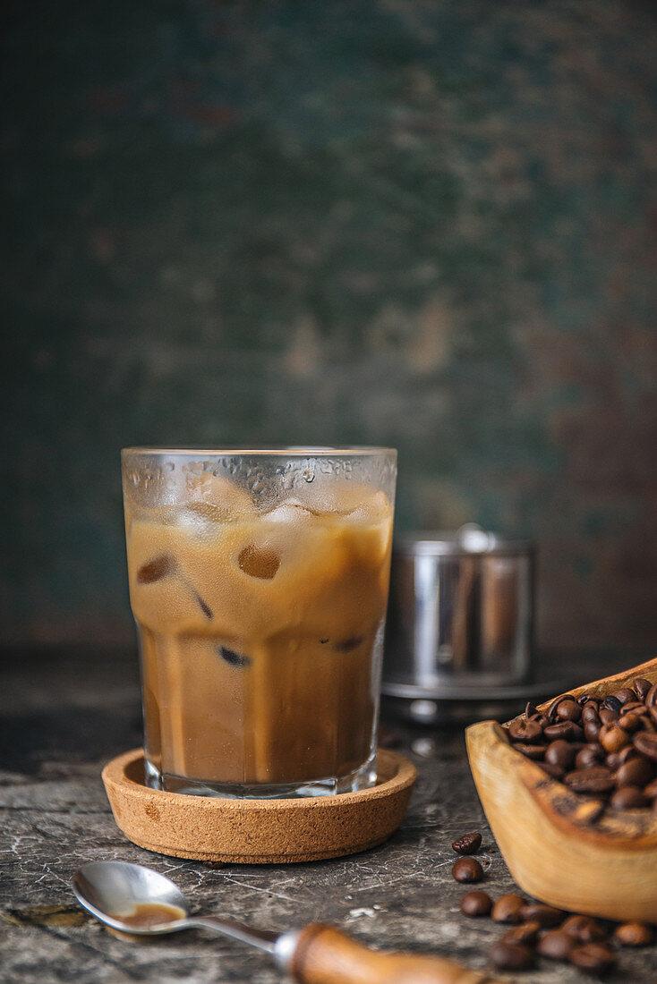 Café au lait with ice cubes