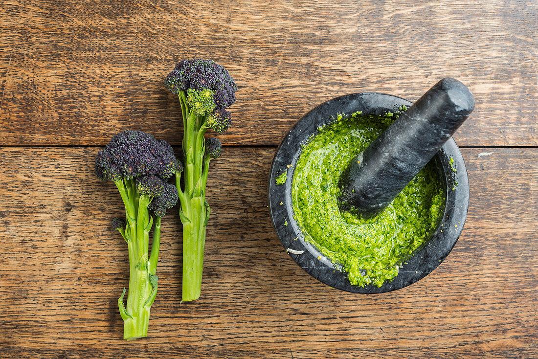 Broccoli pesto in a mortar