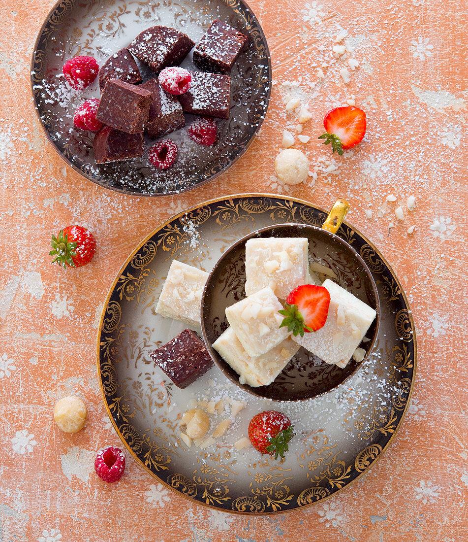 Fudge with raspberries and strawberries