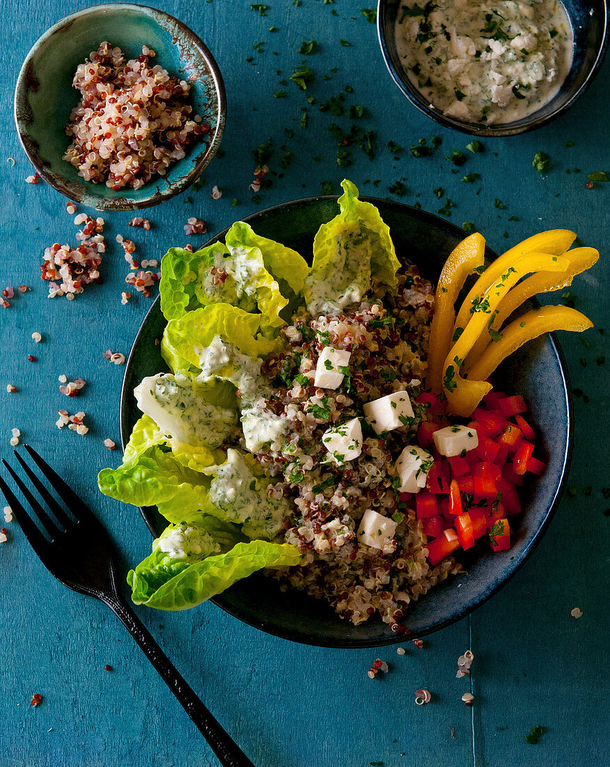 Quinoa bowl with lettuce, pepper, feta cheese and a yoghurt dip
