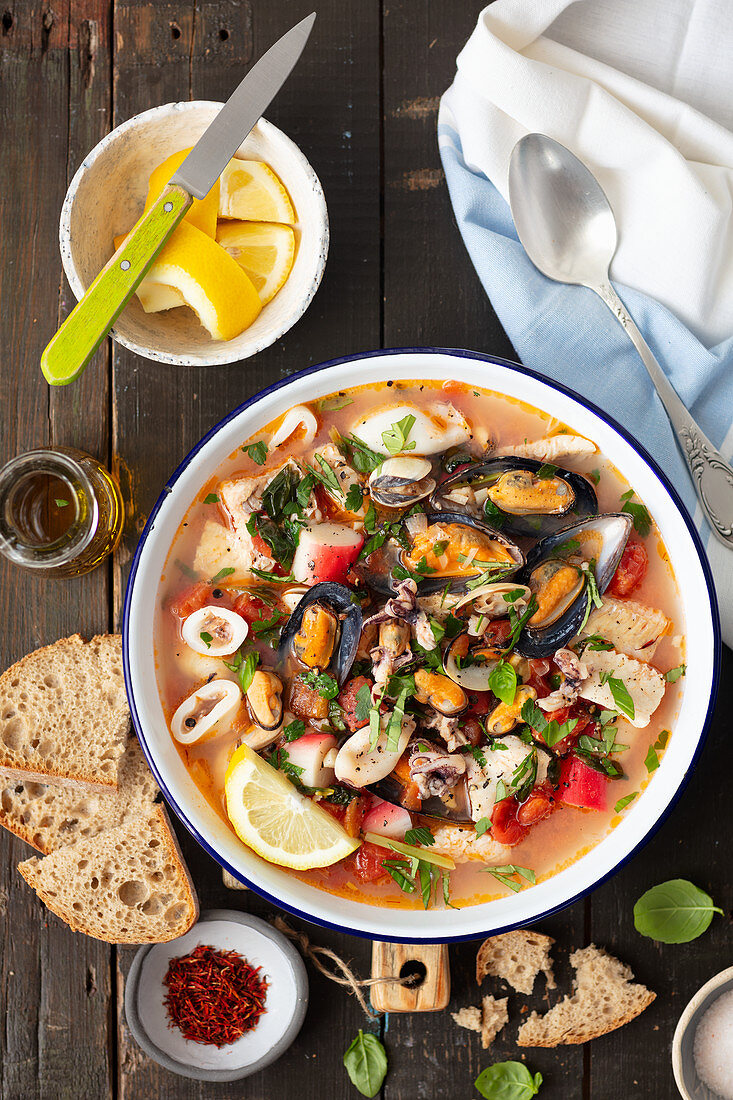 Croatian brodet (seafood soup with tomatoes)