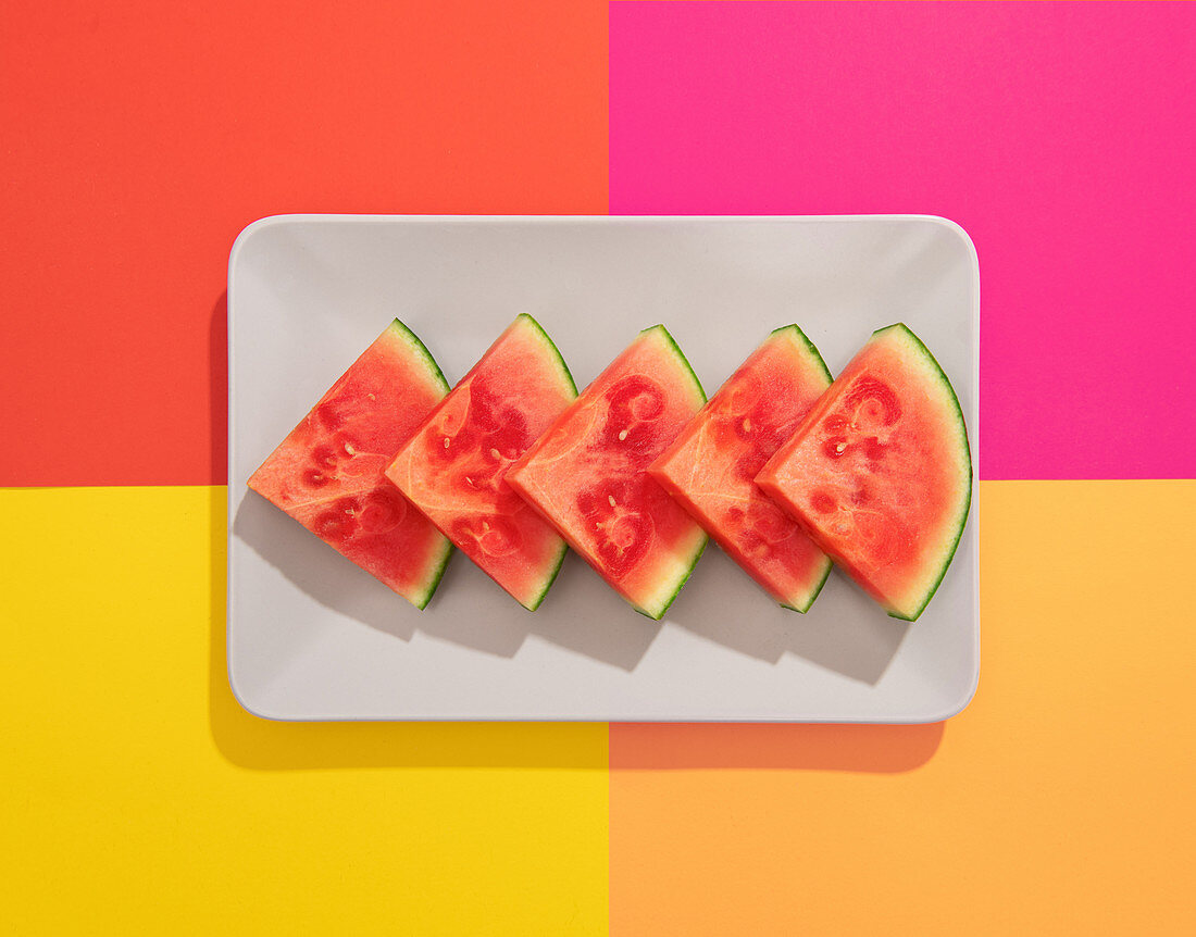 Summer juicy fruit watermelon in colorful background