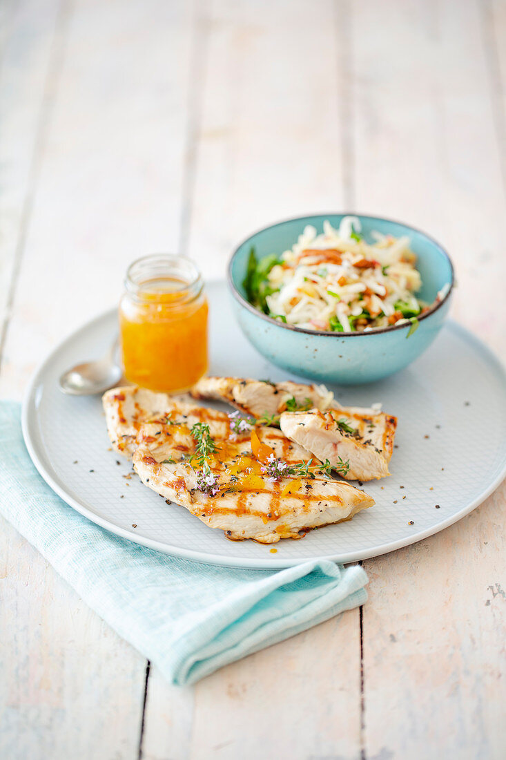Turkey steak with marmalade and an apple and celery salad