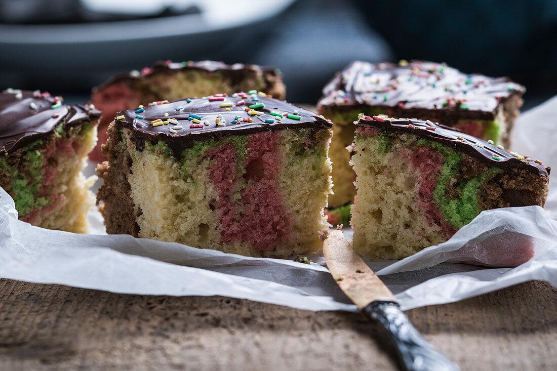 Vegan surprise sponge cake with chocolate glaze