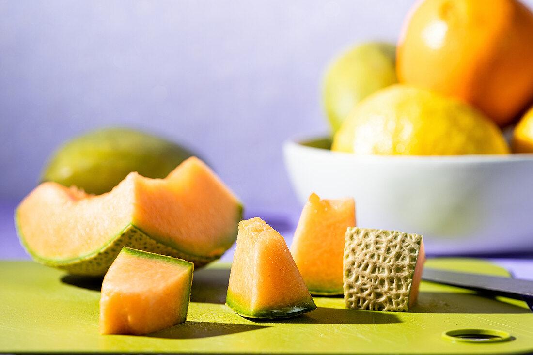 Cantaloupe on cutting board