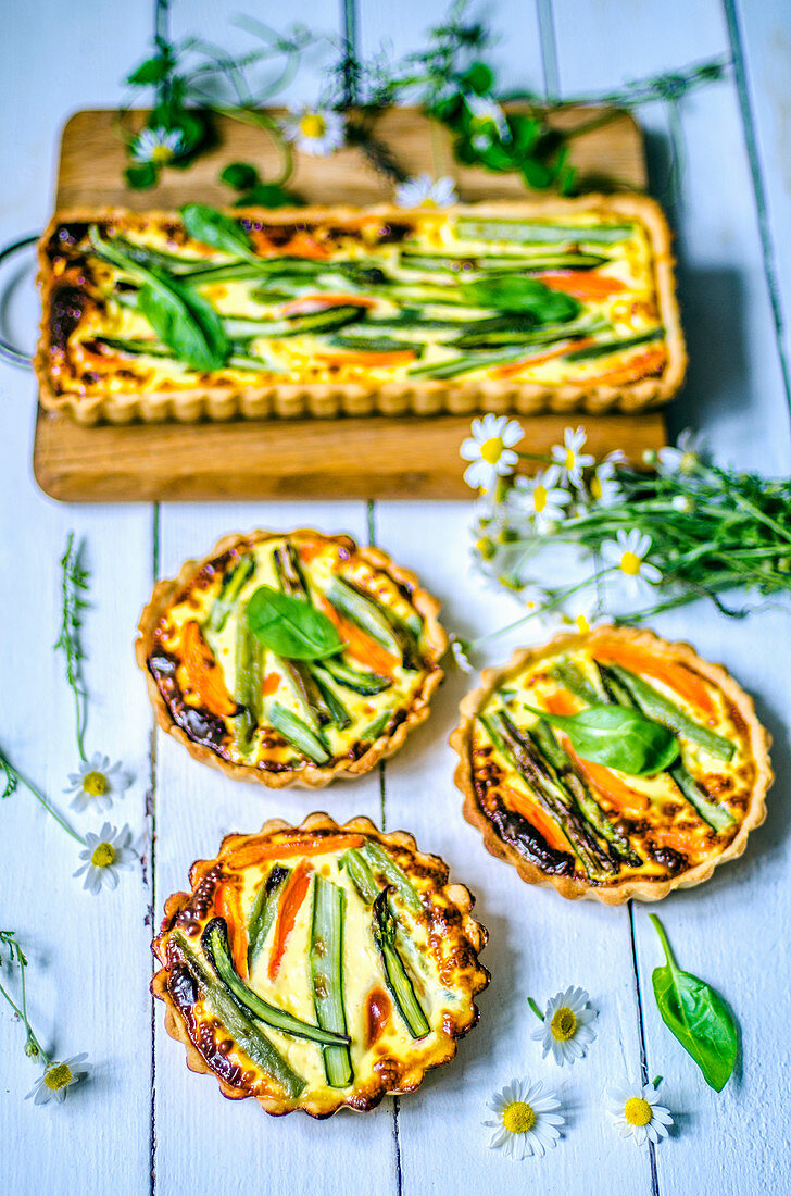 Spring mini-quiche with young vegetables