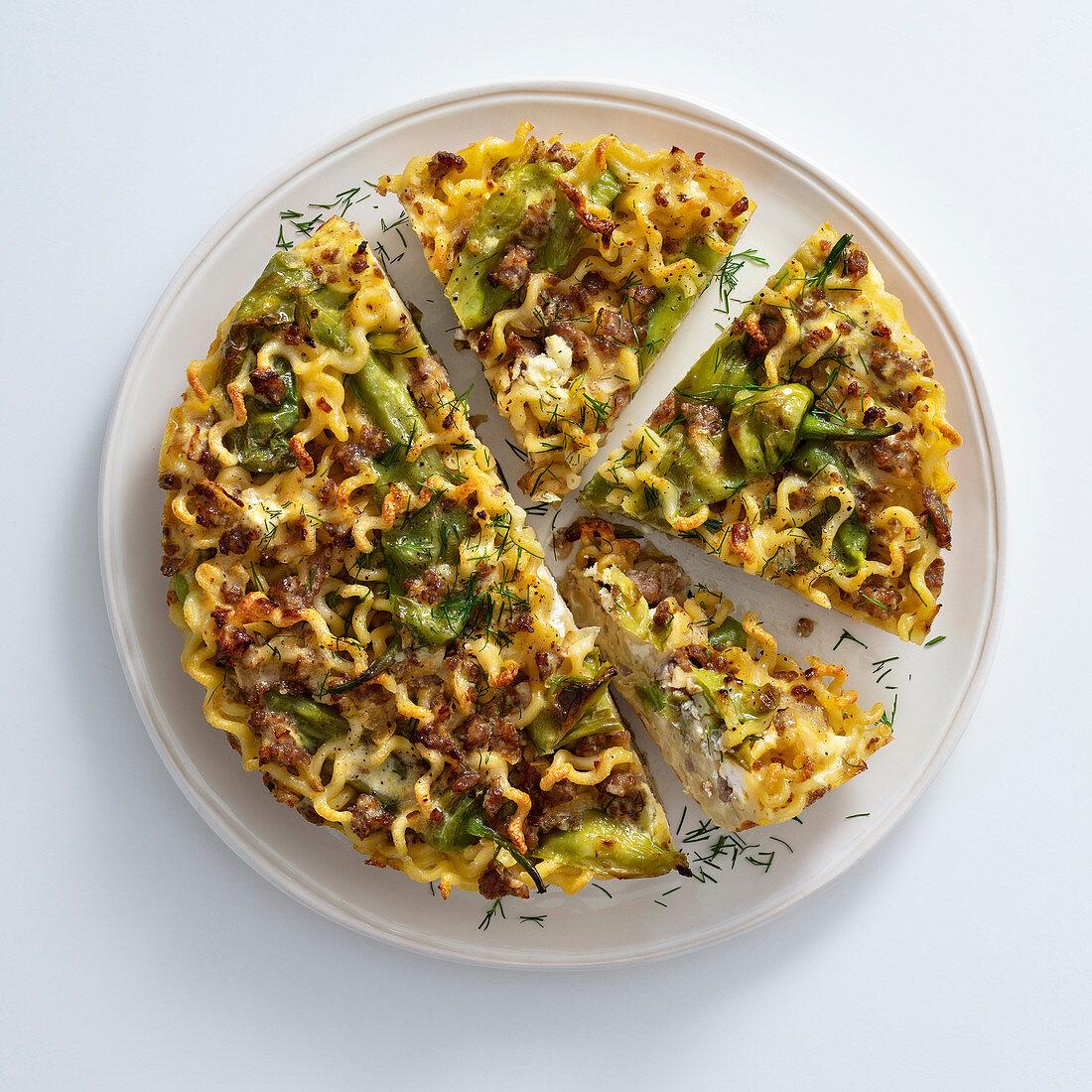 Fusilli frittata with ricotta, salsiccia and cabbage