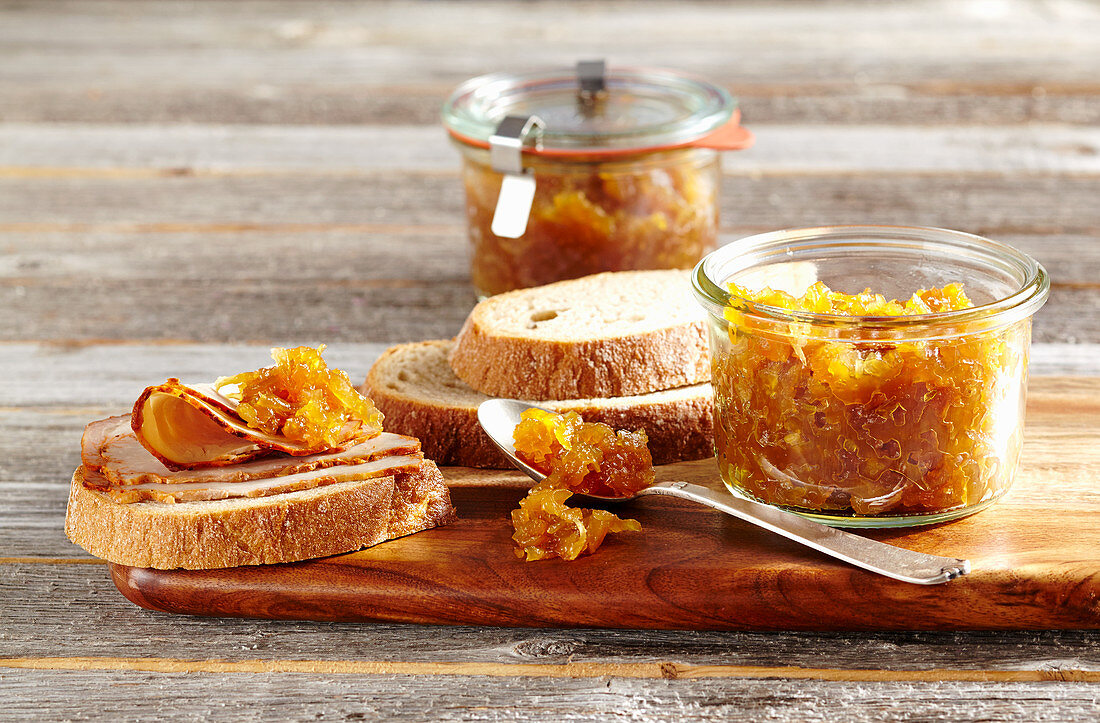 Yellow beet relish served with white bread