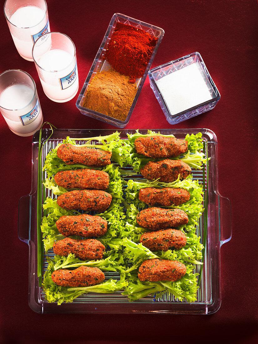 Vegan cog kofte with ayran (Turkey)