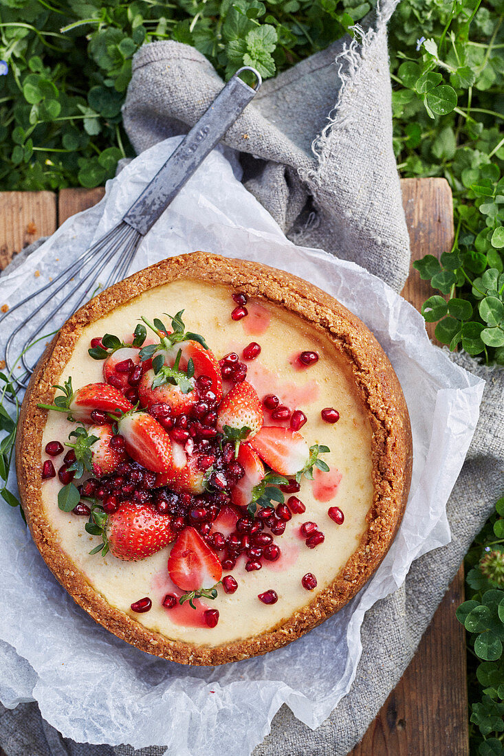Baked Labne Cheesecake with Strawberry and Pomegranate salad