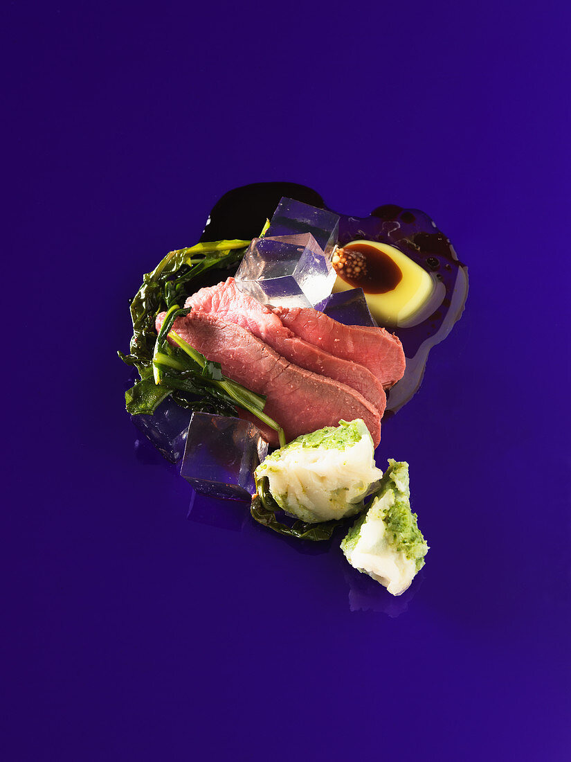 Lamb with iced olive oil and balsamic cubes (molecular gastronomy)