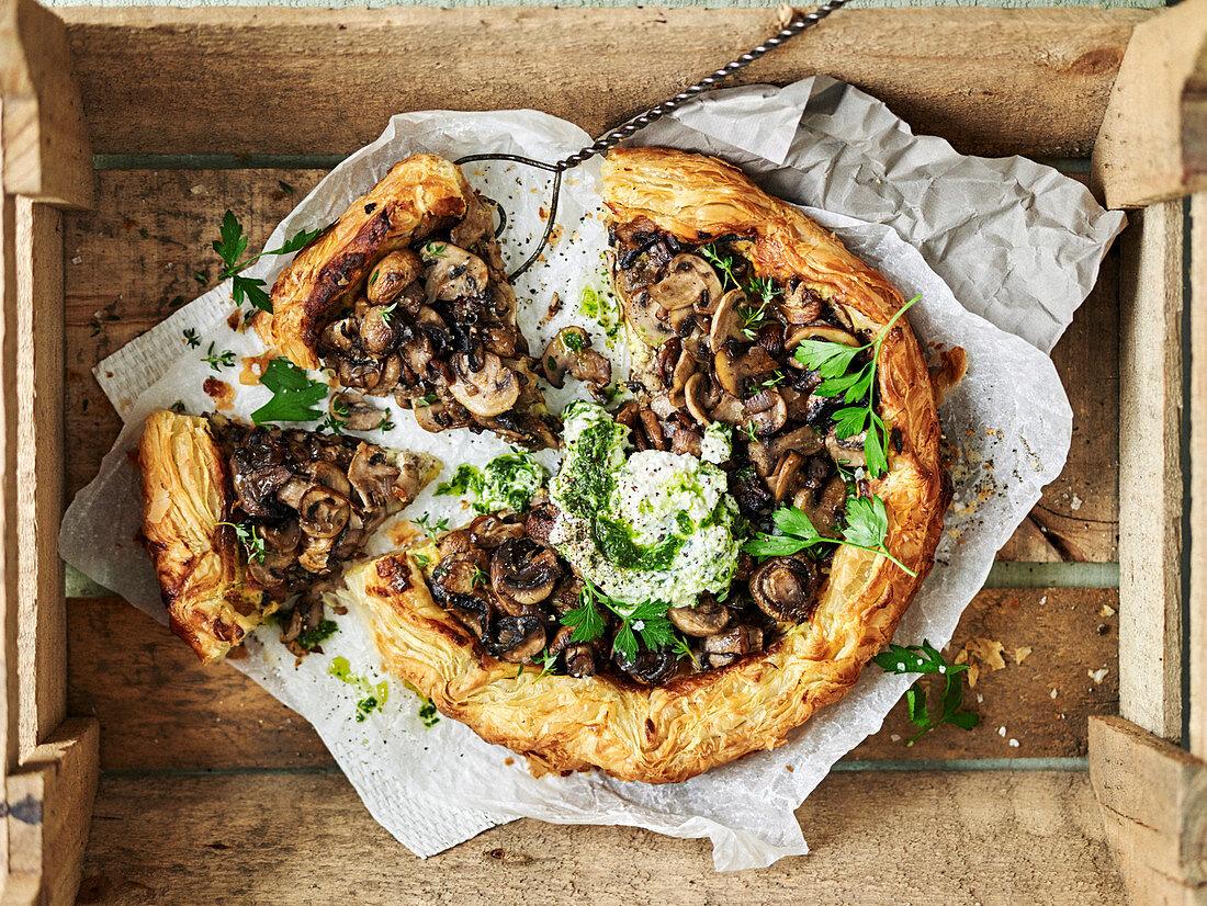 Freeform mushroom and cheese tart