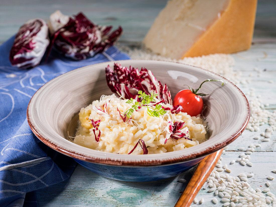 Salsify risotto with radicchio, cherry tomato, chervil and parmesan