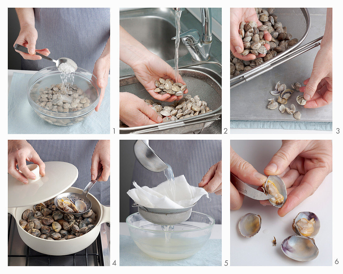 Clams being washed and shelled