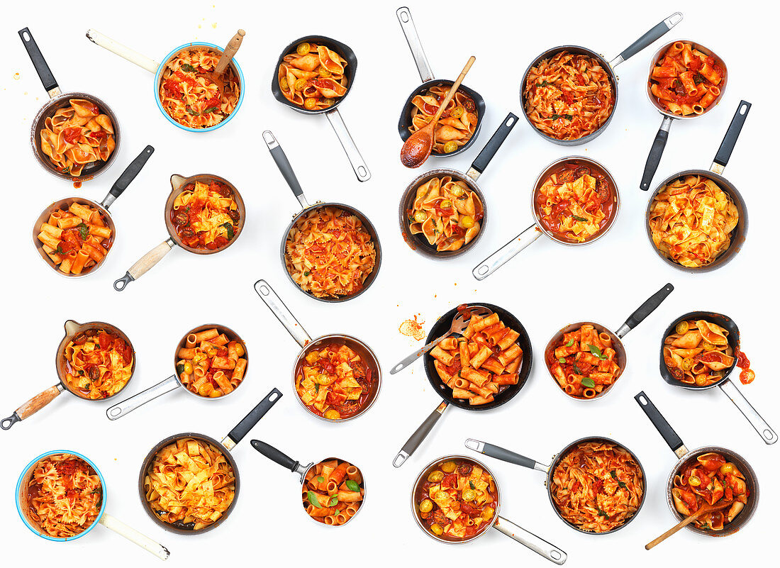 A collage of pasta pans with tomatoes