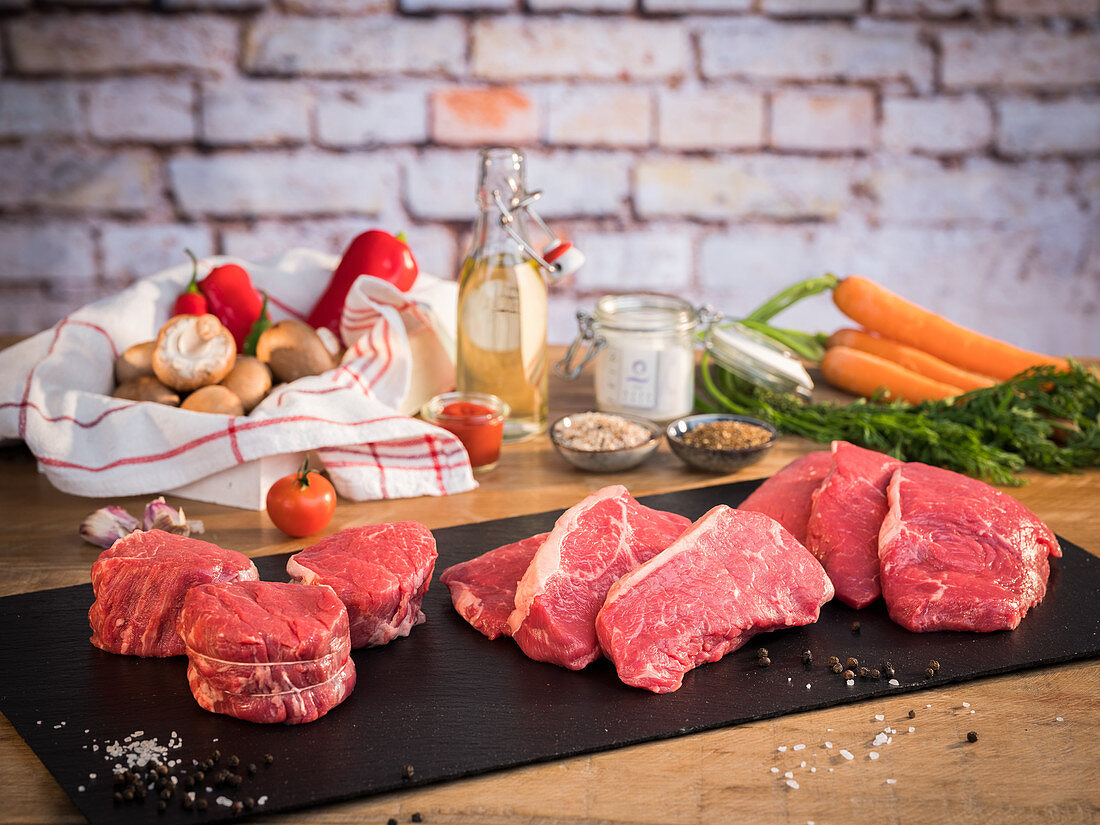 Various types of beef (fillet, roast beef, shoulder), soup vegetables and spices