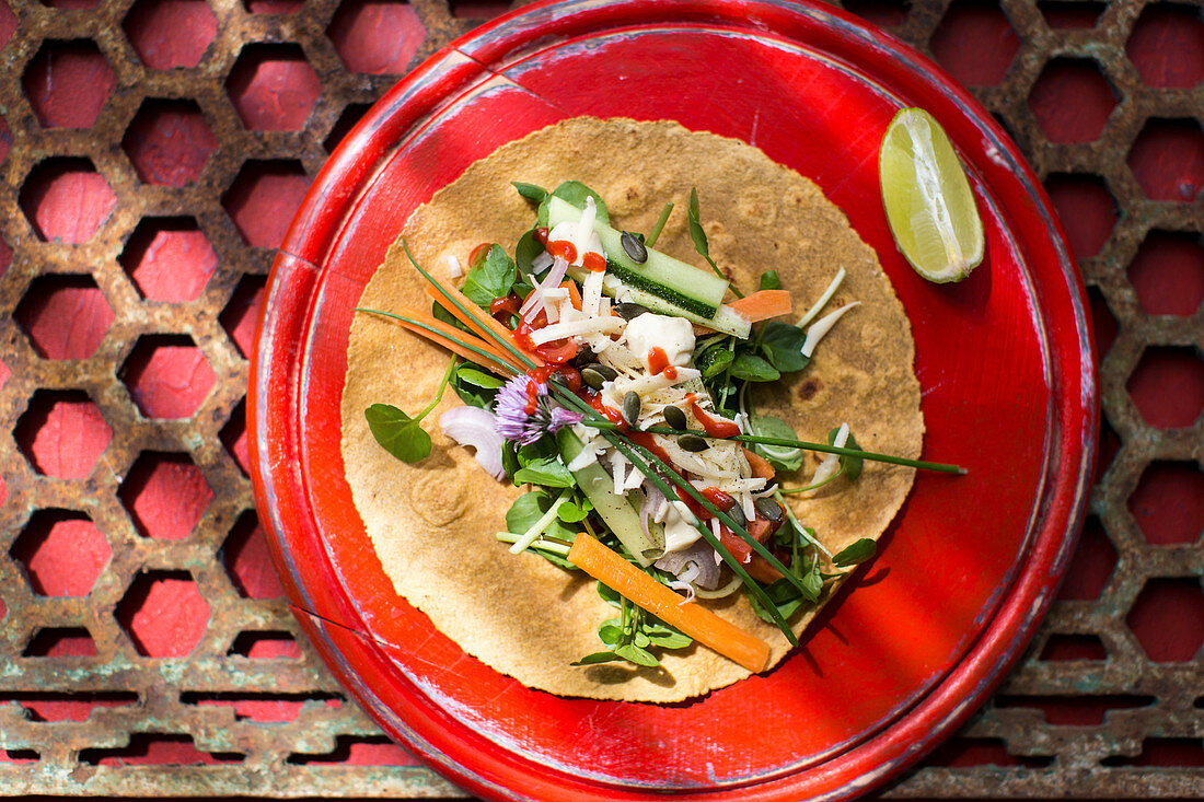 Gluten free wraps with vegetables and cheese