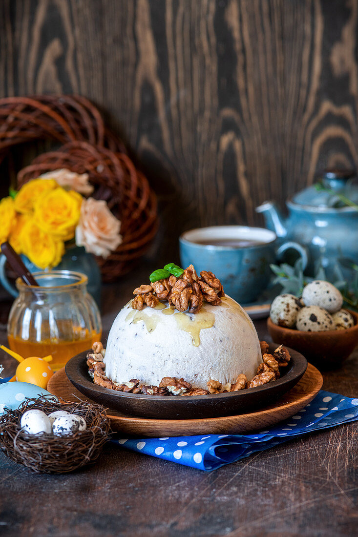 Traditional Russian Easter dessert with tvorog - pascha - with honey and walnuts