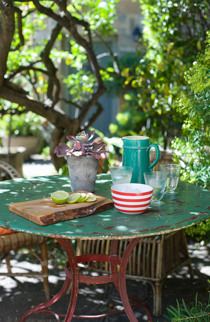 Jug, glasses and lime slices on board on garden table