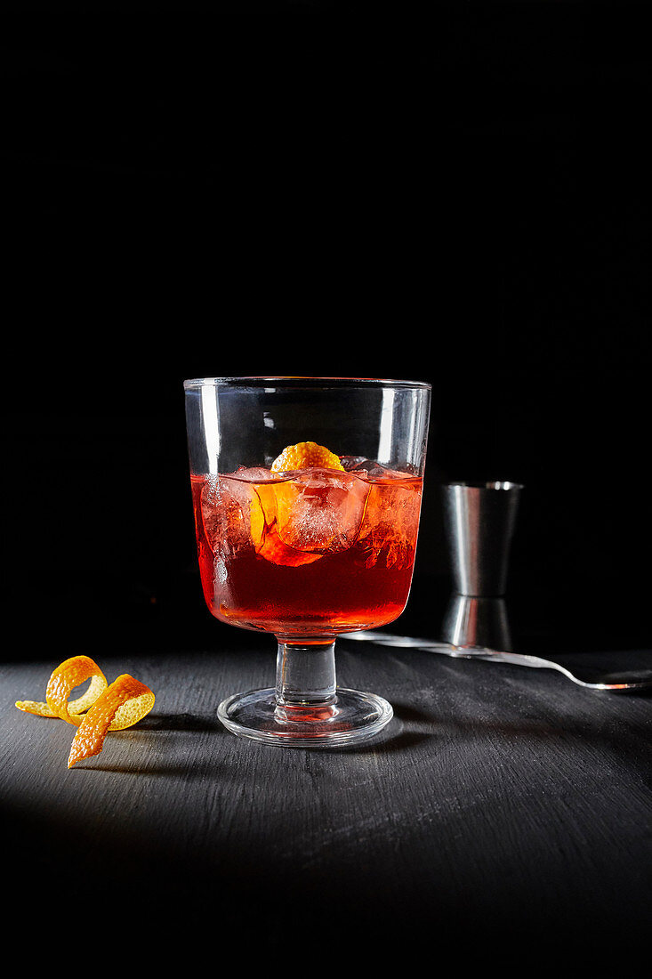 Negroni in a cocktail glass