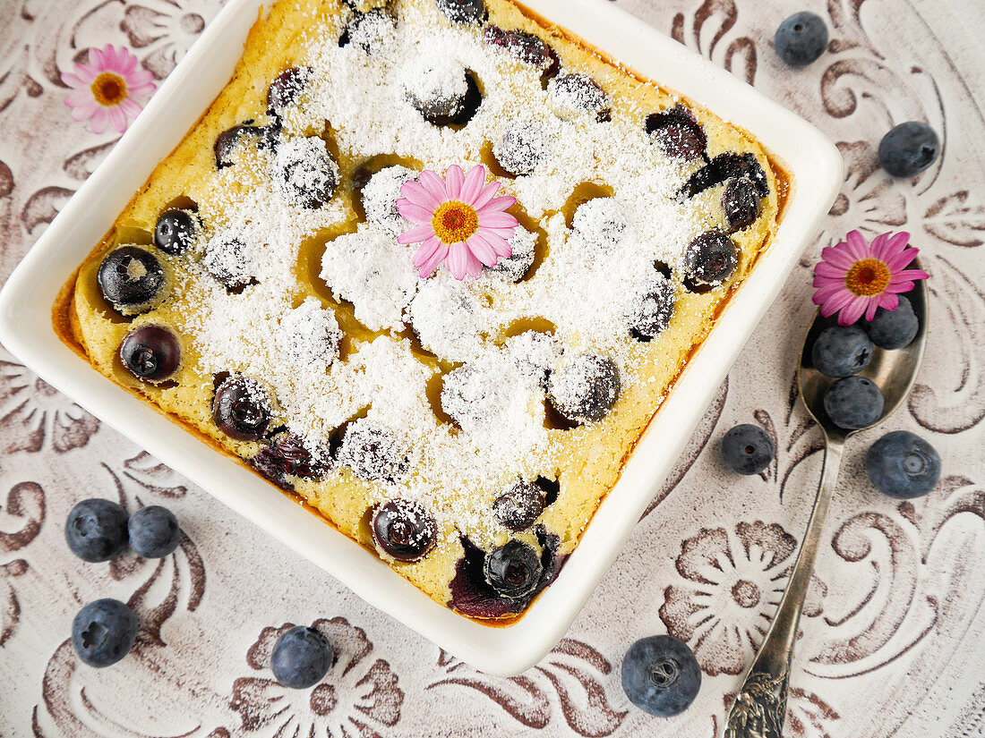 Pancake casserole with blueberries