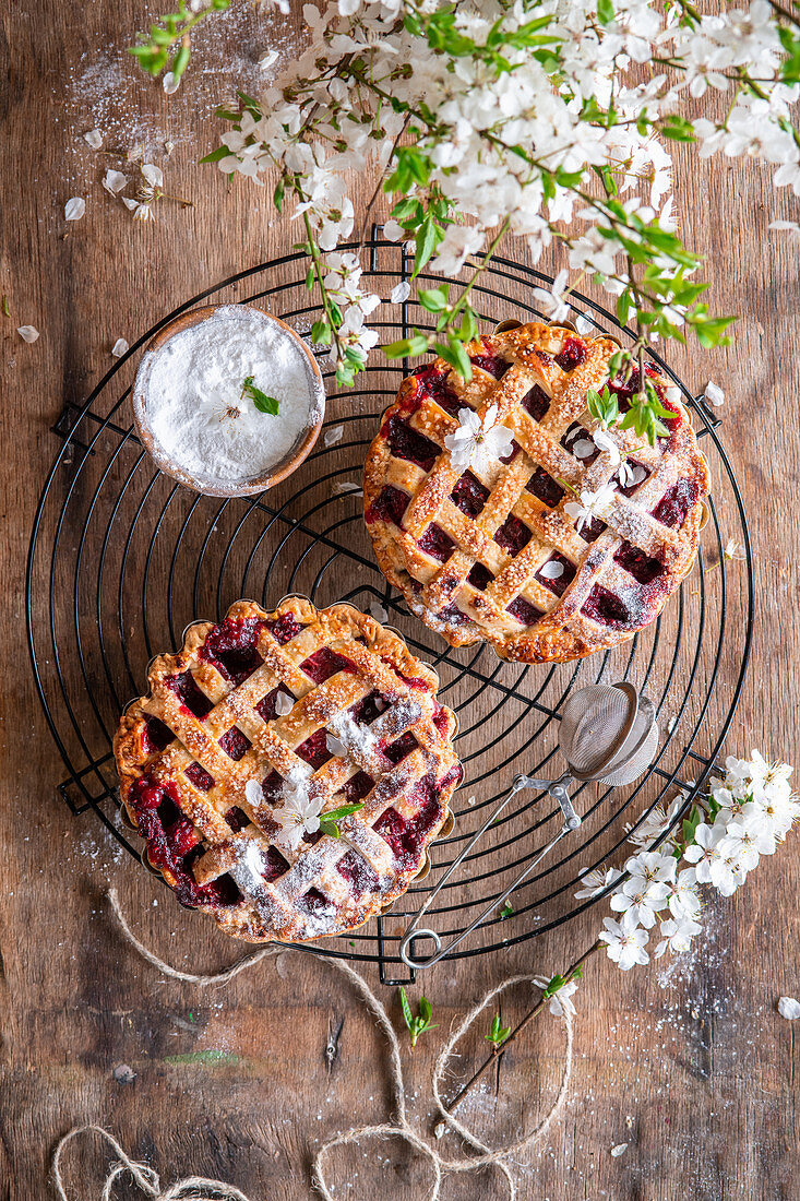 Berry pies from above