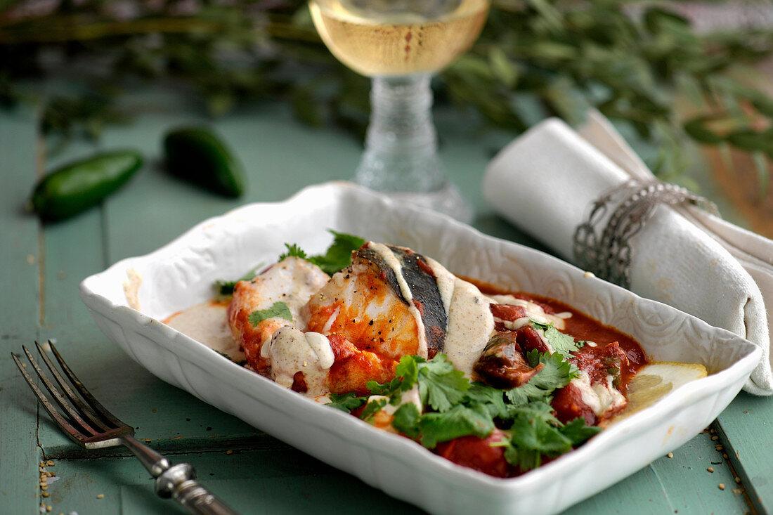 Cod with tomatoes and tahini