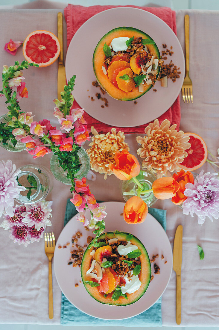 Melon with fruit and granola for Mother's Day
