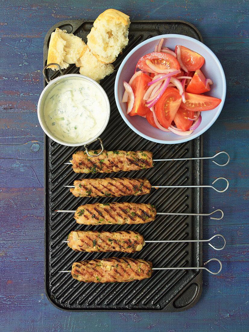 Chicken Kofta with Tomato Salad and Tzatziki