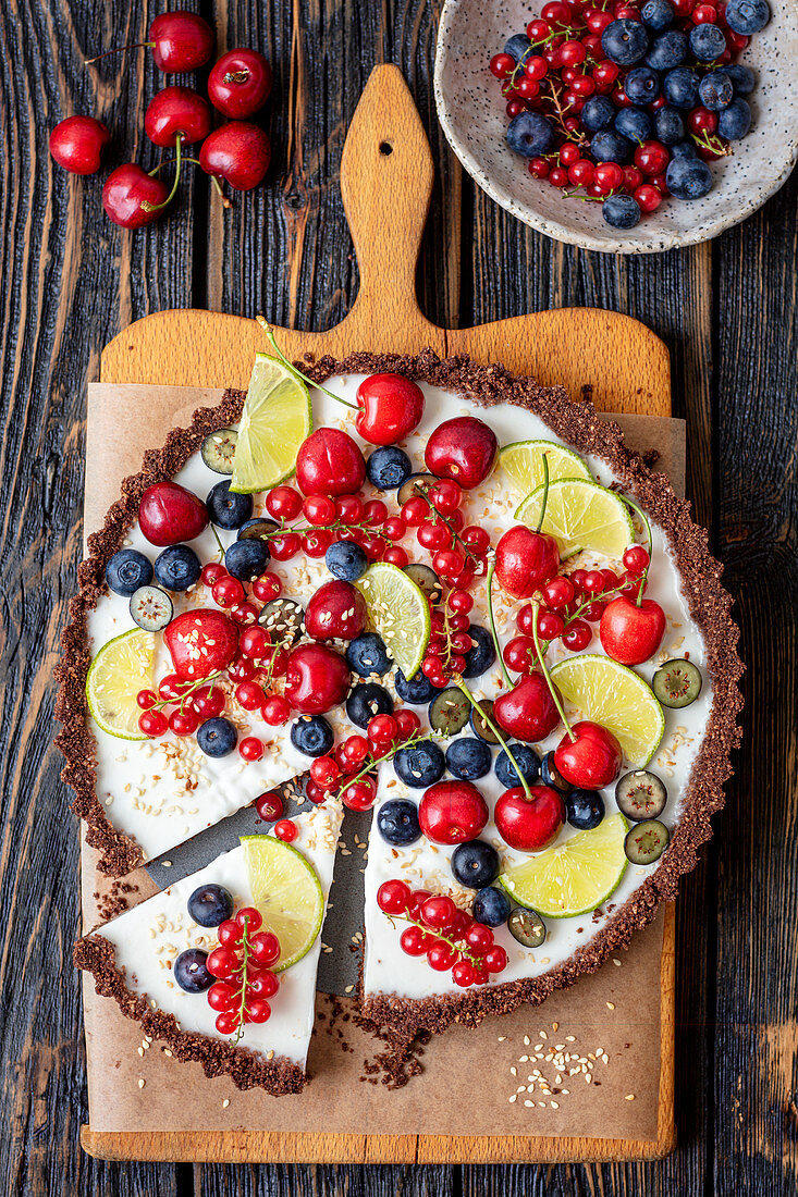 Chocolate no bake tart with coconut and lime filling