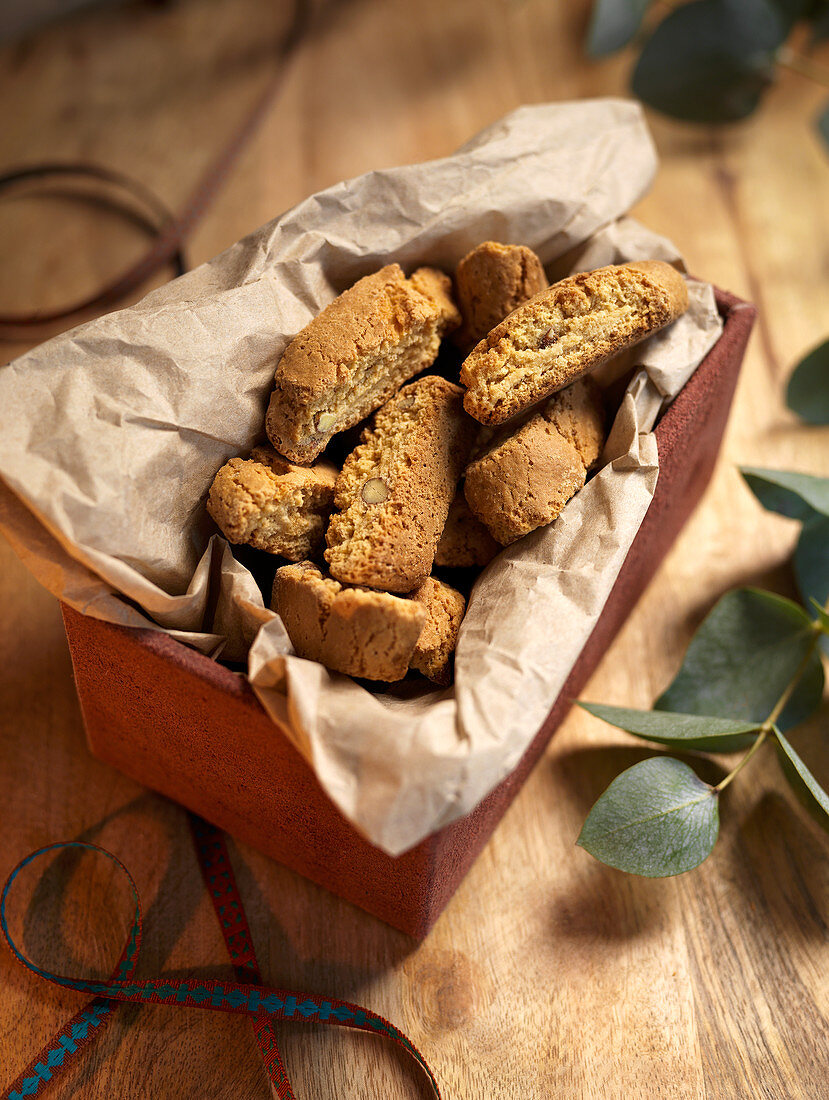 Cantuccini in a box lined with paper