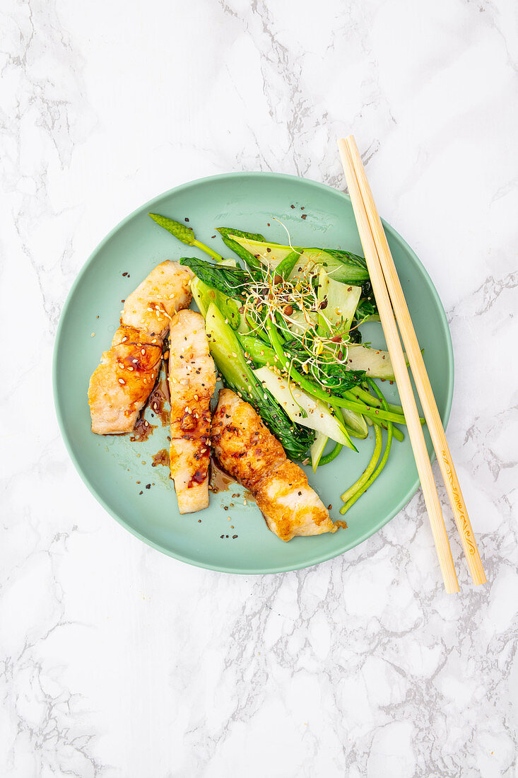 Perch fillet with pak choi, Thai asparagus and sweet soy sauce