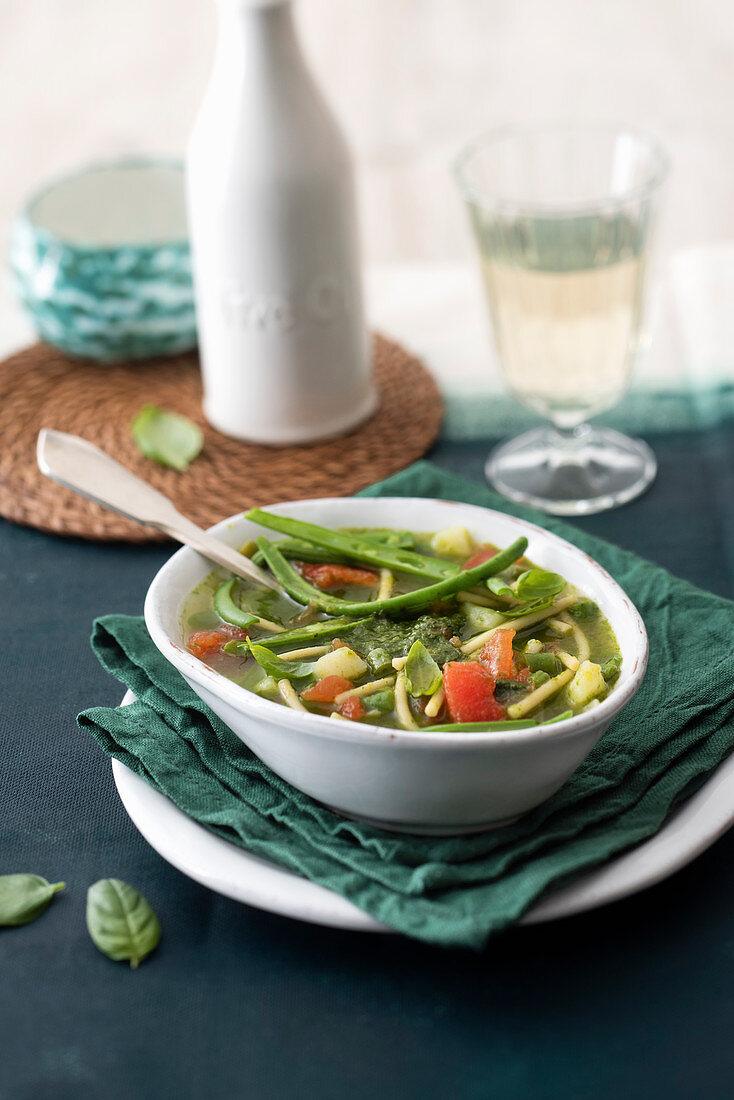Soupe au pistou (vegetable soup with basil sauce, France)