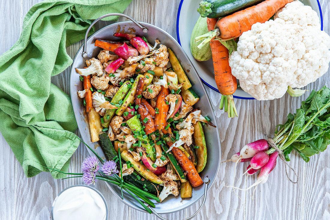 Glazed roast vegetables
