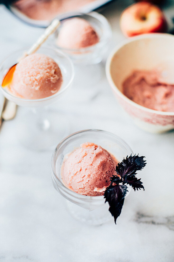 Peach sorbet with shiso