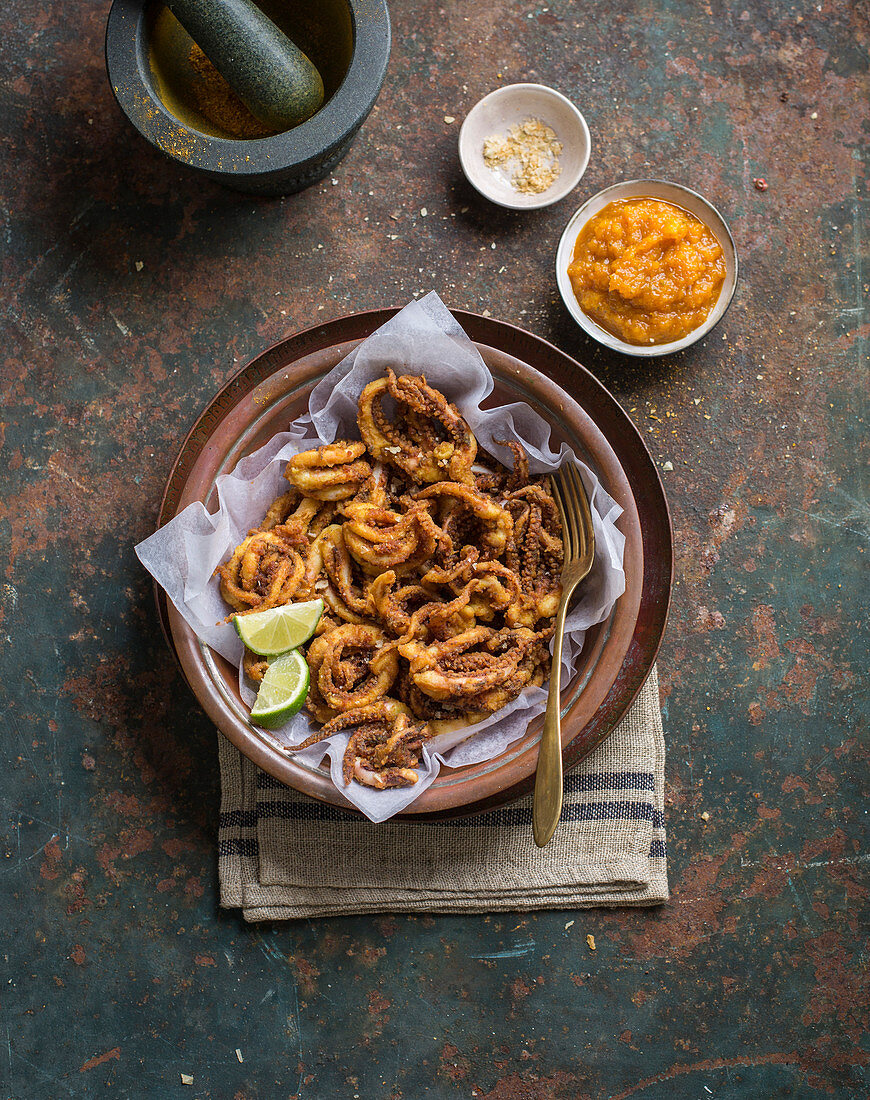 Fried squid with lime and mango chutney
