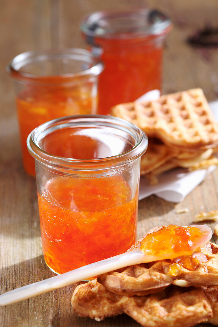 Clementine and grapefruit jam with freshly baked waffles
