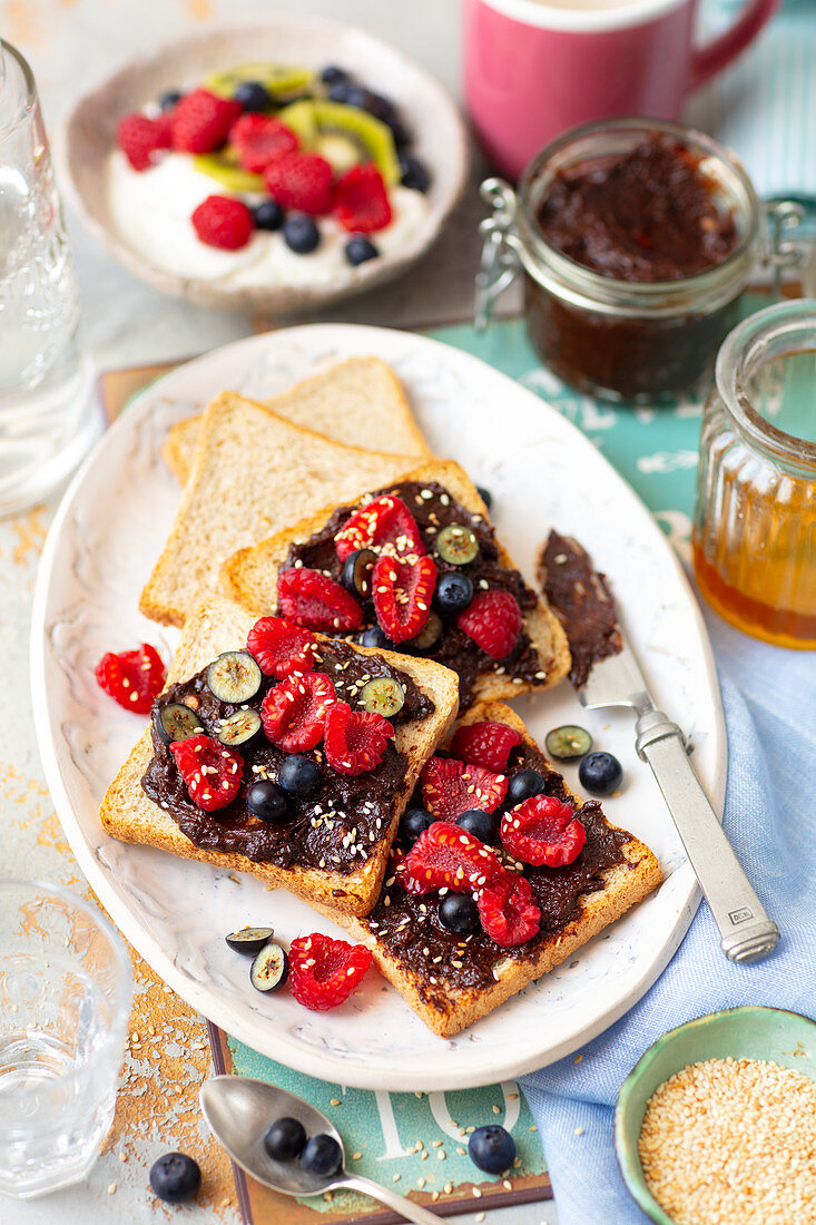 Date and prune Nutella on toast with fruit