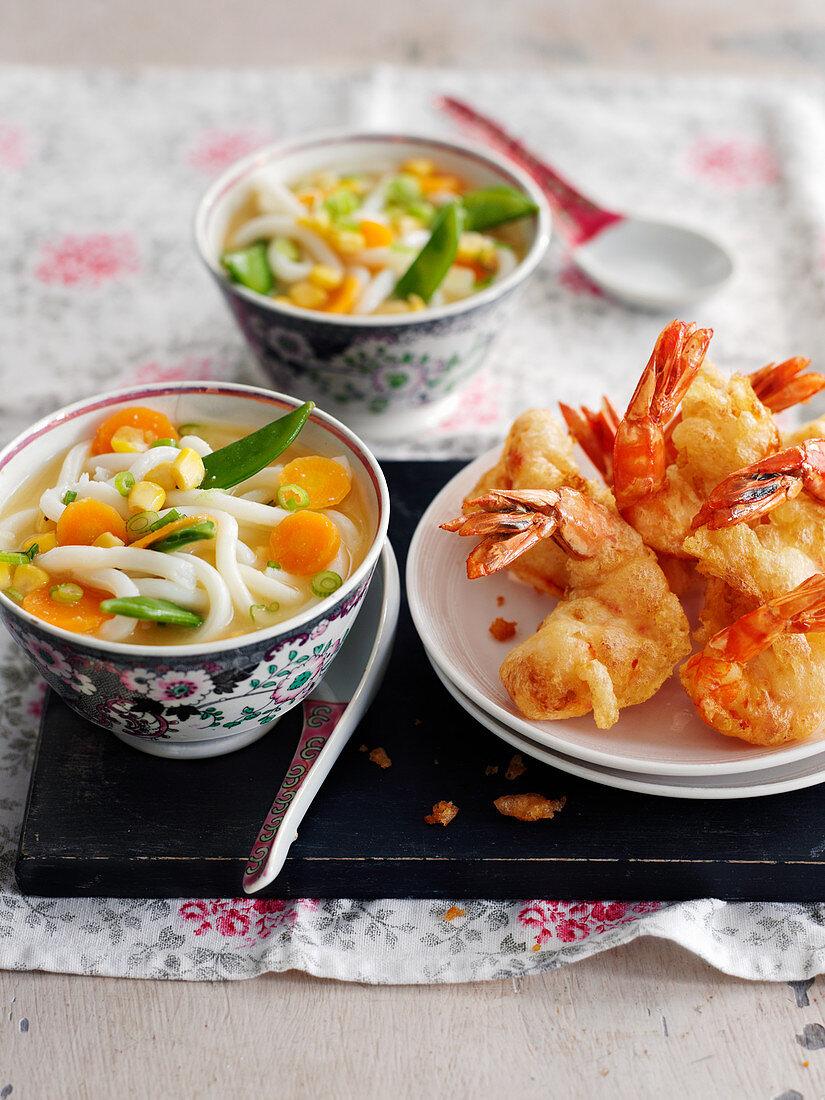 King prawn tempura with miso soup (Japan)