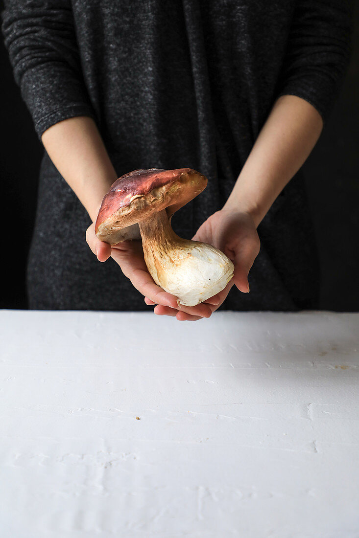 Big mushroom with fleshy hat and large trunk in hands