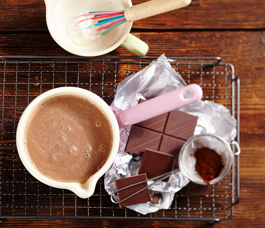 Ingredients for a hot chocolate coffee