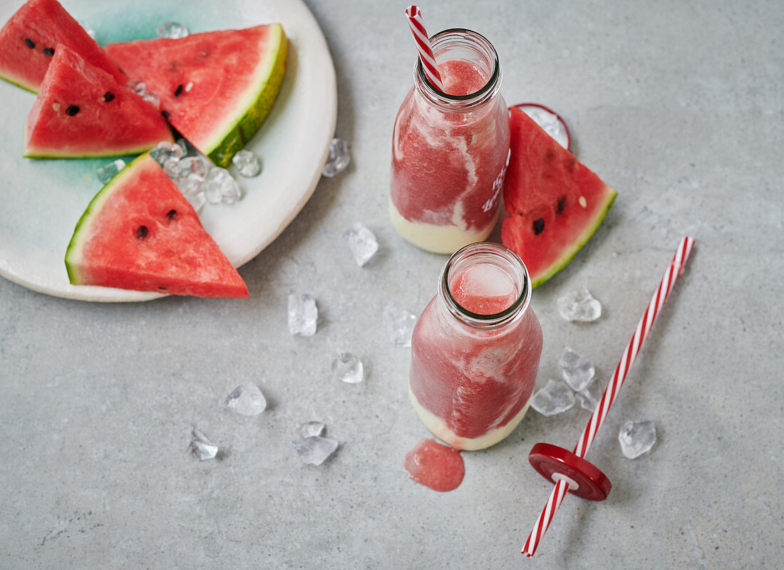 Ice-cold melon smoothie with watermelon, galia melon and yoghurt