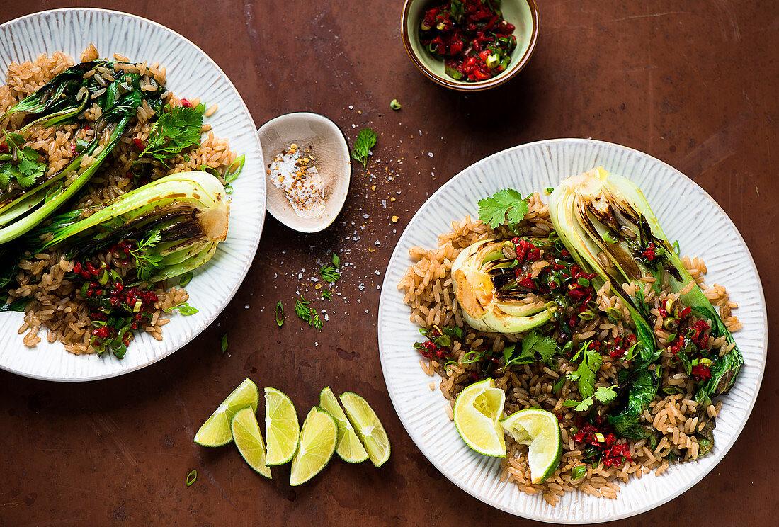 Rice with hoisin sauce, pak choi and chili salsa