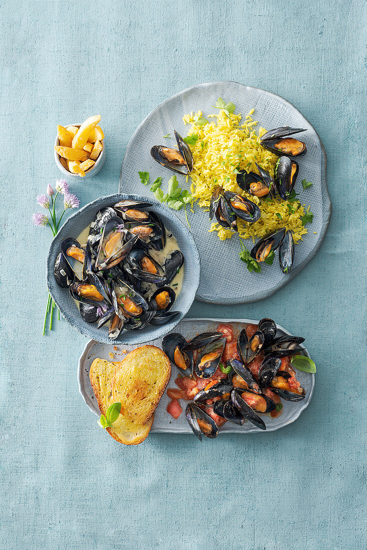 Three dishes made with mussels