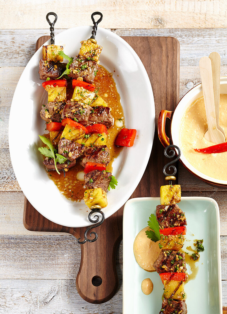 Grilled beef and pineapple skewers with macadamia nut and chilli sauce